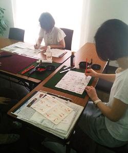 福岡ミモザテラス習字教室の様子